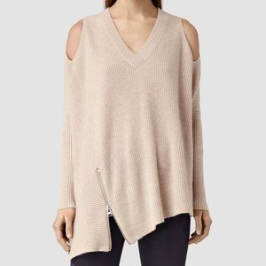 All Saints Cold Shoulder Oatmeal Sweater